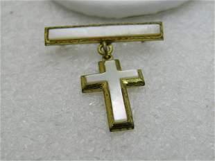 "Vintage MOP Dangling Cross Bar Brooch, 1"" by 1.25"","