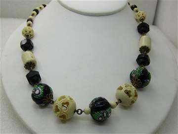 Vintage Murano Glass & Carved Beaded Necklace,