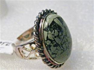 Southwestern Faux Green Agate Ring, Costume, Silver