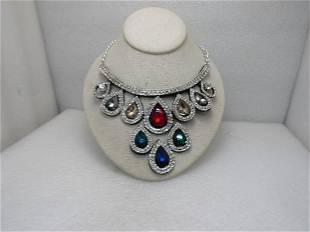 Vintage Colorful Rhinestone Bib Statement Necklace,