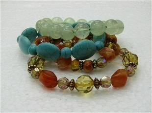 4 Beaded Bracelets, Jadeite, Faux Turquoise, Brown