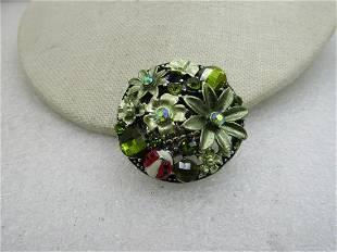Green Rhinestone Floral Stretch Ring, Sz. 6 to 12,