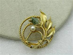 Vintage Moss Agate Faux Pearl Floral Circle Brooch,