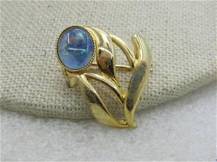Vintage Australian Created Opal Floral Brooch, Gold