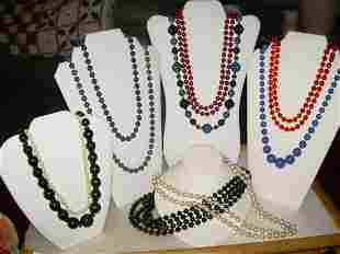 Vintage Lot Of 10 Beaded Necklaces; Some Signed