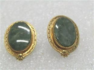 Vintage 10kt G.F. Green Agate Earrings, Filigree