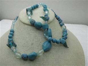 Vintage Southwestern Turquoise Acrylic Beaded Necklace,
