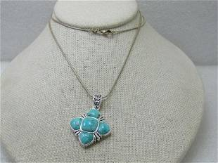 """Southwestern Faux Turquoise Necklace, Silver Tone, 24"""""""