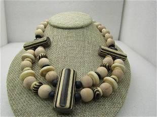 Vintage Tribal Wooden Zebra Beaded Necklace, signed