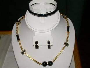 """Vintage Set Black Jewelry Necklace 34"""", Bracelet 2 1/4"""""""