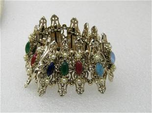 Vintage Faux Pearl & Semi-Precious Gemstone Wide