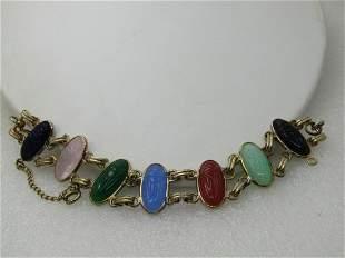 "Vintage Egyptian Themed Scarab Bracelet, 6.75"", Glass"