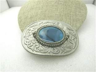 "Vintage Southwestern Faux Turquoise Belt Buckle, 1.5"""