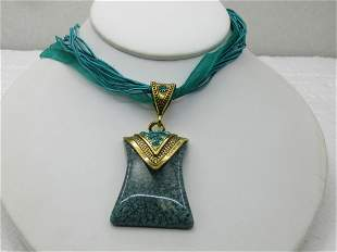 """Teal Pendant on 16"""" Teal Multi-Strand Ribbon Necklace"""