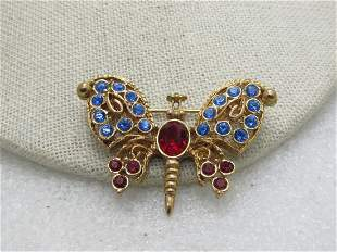 Red & Blue Rhinestone Butterfly Brooch signed Lia,