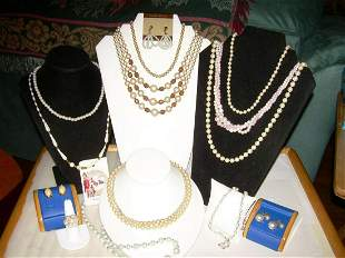 Vintage Lot 10 Pearl Necklaces, Earrings,Ring -