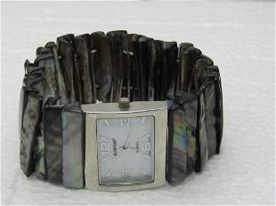 Accutime Abalone Stretch Band Watch, Ladies, signed