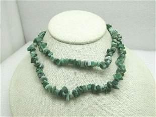 "29"" Green Quartz Nugget Necklace, Tumbled Stones, Great"