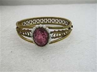 """Vintage Art Deco Rhinestone Hinged Bracelet, 6.75"""","""