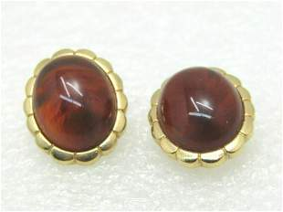 Vintage Faux Brown Agate/Amber Earrings, Pierced, Gold