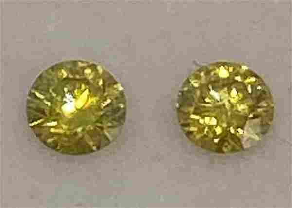 Pair of Natural Fancy Diamonds Greenish Yellow 0.54tct