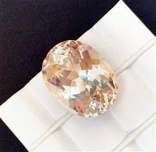 Rare Tripane Kunzite Gemstone, Oval Cut, 48 Carat, Top