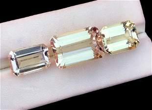 Natural Kunzite Loose Gemstones Set , Rare Golden peach