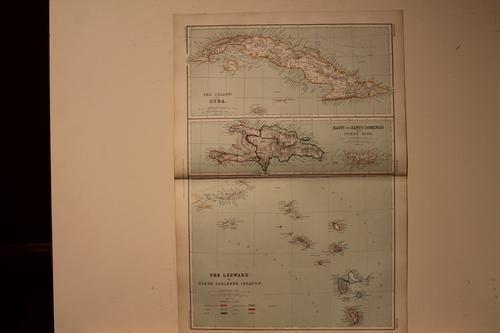 1889 Map of Cuba, Hayti and Porto Rico