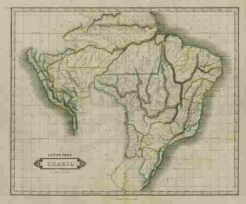 Lower Peru, Brazil & Paraguay. Central South America.