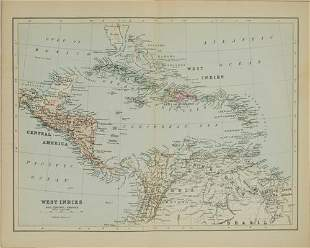 1892 Johnson Map of Caribbean and Central America --