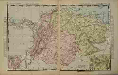 1898 Rand McNally Map of Columbia, Venezuela and Panama