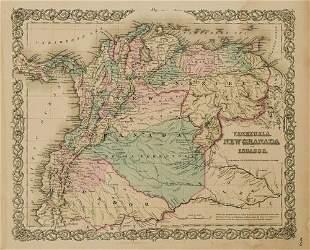 1855 Colton Map of Venezuela, Columbia and Ecuador --