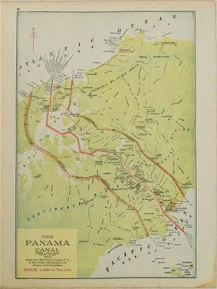 1914 Cram Map of the Panama Canal [verso] US