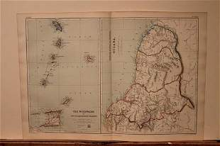1889 Map of the South Carribean Islands and the Guyanas