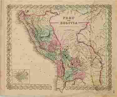 1855 Colton Map of Peru and Bolivia -- Peru and Bolivia