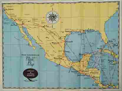 1950s Pan Am Flight Map of Mexico and Central America
