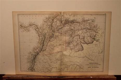 1882 Map of Venezuela and Colombia