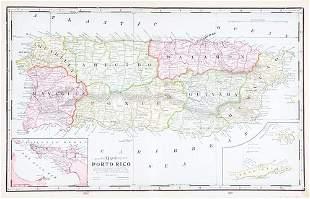 Cram: Large Puerto Rico Map with San Juan Harbor Inset