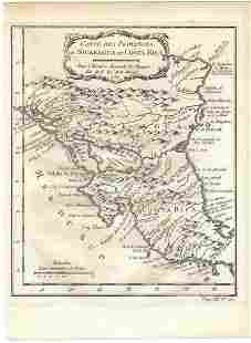 1754 Map of Nicaragua and Costa Rica -- Carte des