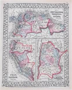 1870 Mitchell Map of Venezuela, Columbia, Granada,