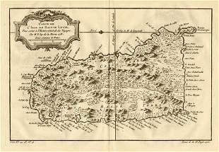 Carte de L'Isle de Sainte Lucie'. Saint Lucia,