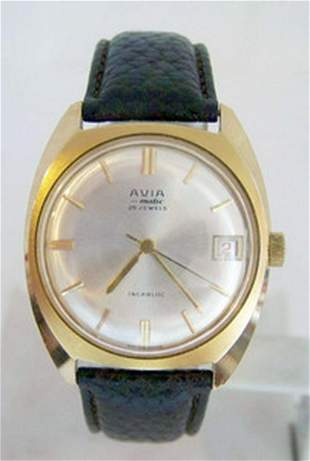 Vintage Gold color Swiss AVIA MATIC 25J Automatic Watch