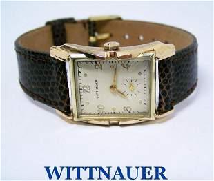 Vintage 14k Gold WITTNAUER Mens Winding Watch c1950s