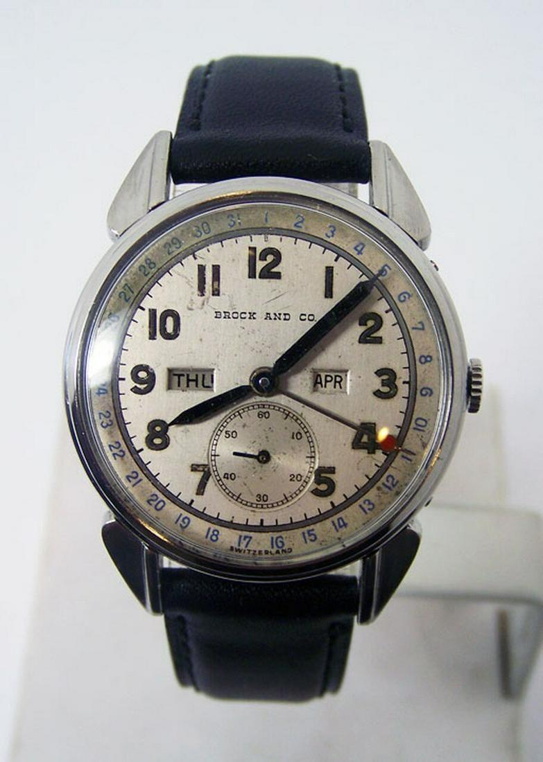 Vintage BROCK & CO Mens Triple Calendar Winding Watch