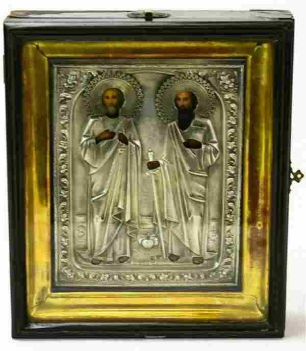 ANTIQUE 19c 84 SILVER HAND PAINTED RUSSIAN ICON OF THE