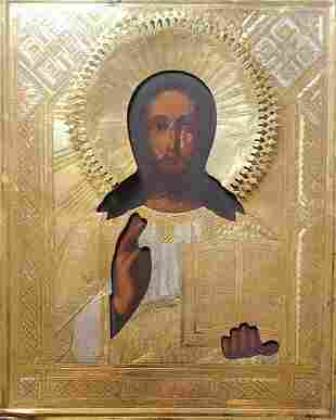 ANTIQUE 19C HAND PAINTED RUSSIAN ICON OF CHRIST WITH