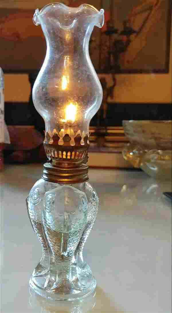 ANTIQUE GLASS/BRASS LAMPADA,CHURCH LAMP SHAPE OF FISH