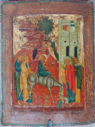 ANTIQUE 18? HAND PAINTED RUSSIAN ICON OF ENTRANCE OF