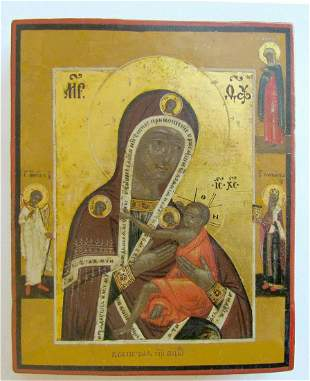 RUSSIAN ICON OF ALL-HYMNED MOTHER OF GOD 19th CENTURY
