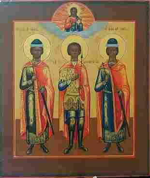 ANTIQUE 19c RUSSIAN HAND PAINTED ICON OF THREE
